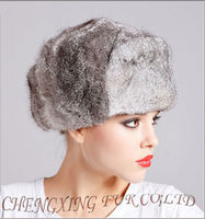 CX-C-26A Womens Gray Full Fur Rabbit Russian Aviator Hat