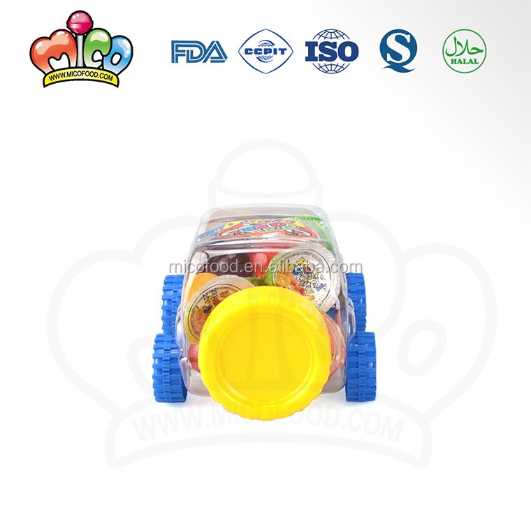 assorted fruit jelly mixed in mini cartoon car