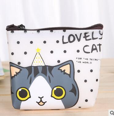 New 2017 Women Cute Cartoon Cat Coin Purse PU Leather Wallet Pouch Bag Kids Keychain Card Holder Bag For children Gift