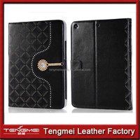 Black Fashion Diamond Crystal pu Leather Flip Folio Stand Hard Case for iPad Air