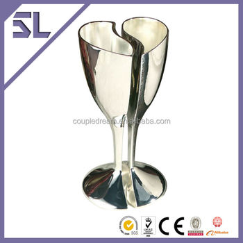 Popular Selling Unique Heart Design Glasses Silver Plated Champagne Glassed For Wedding Table Decoration China Wholesale Factory