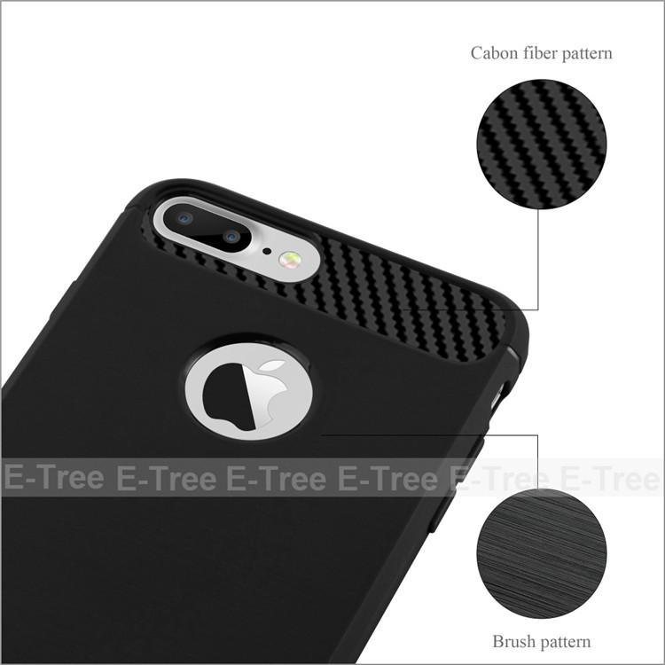 Brush Non-Slip Design Soft TPU Shockproof Bumper Phone Cover Case For iPhone 7 Plus