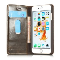 2016 Manufacturer Wholesale Luxury Retro Vintage Book Style With Card Slots Flip Wallet Leather Case for Iphone 6