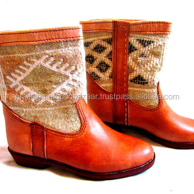 Elegant Moroccan Handmade Genuine Leather Brown Boots with Kilim Rug