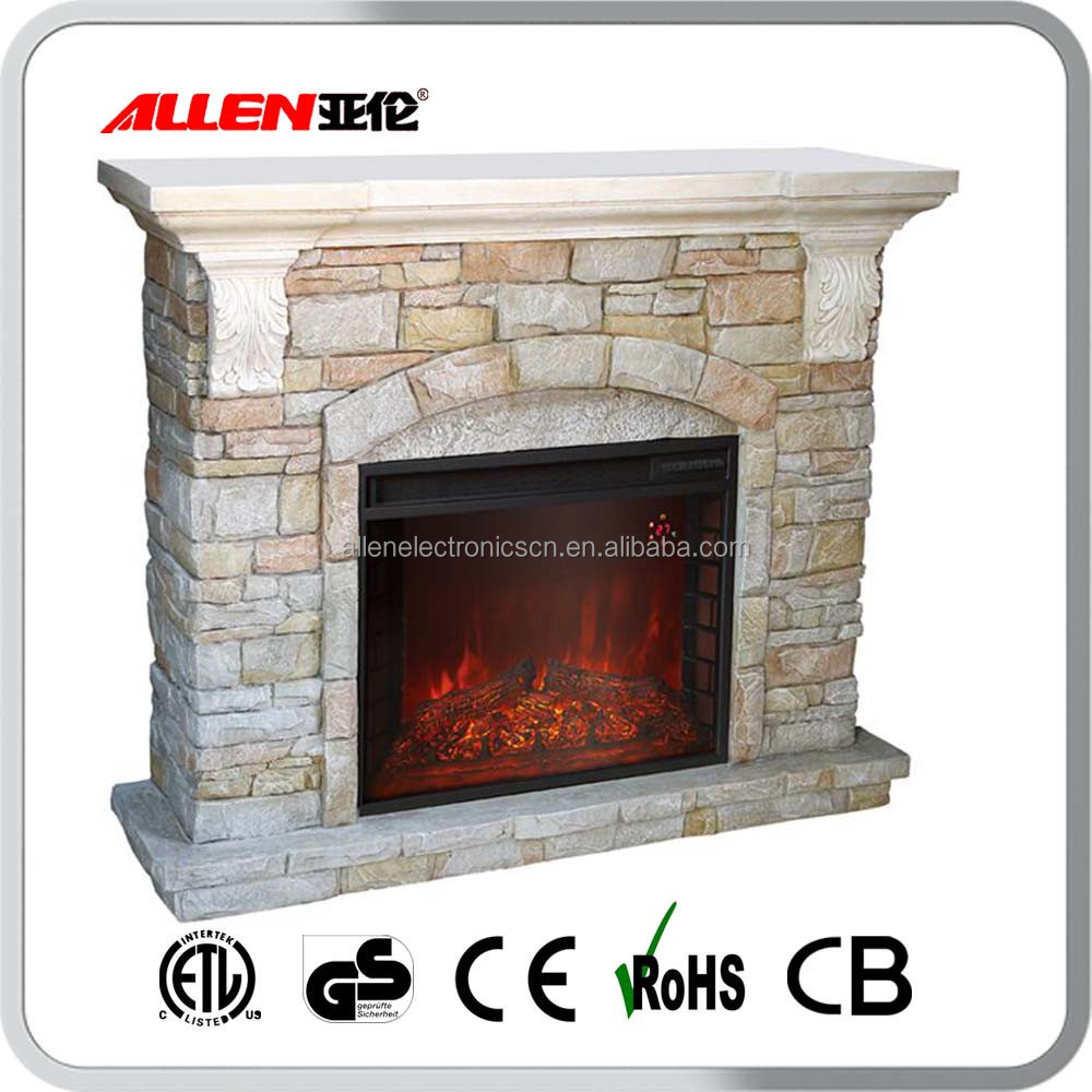 120V Luxury ETL Certificated Polystone Mantel Electric Fire Place with Remote Control