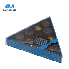chocolate packaging paper box with window plastic cover triangle shape acetate tray