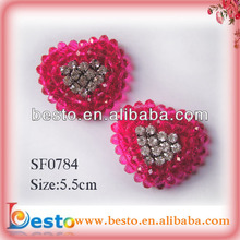 SF0784 Hot sell fashion heart shaped red glass bead rhinestone buckles for shoes
