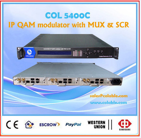 IP qam modulator with mux & scr, ip mux scr qam module, ip to 8 /16/24 frequency qam catv headend equipment