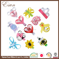 Great brand different types grosgrain animals ribbon hair clips for birthday