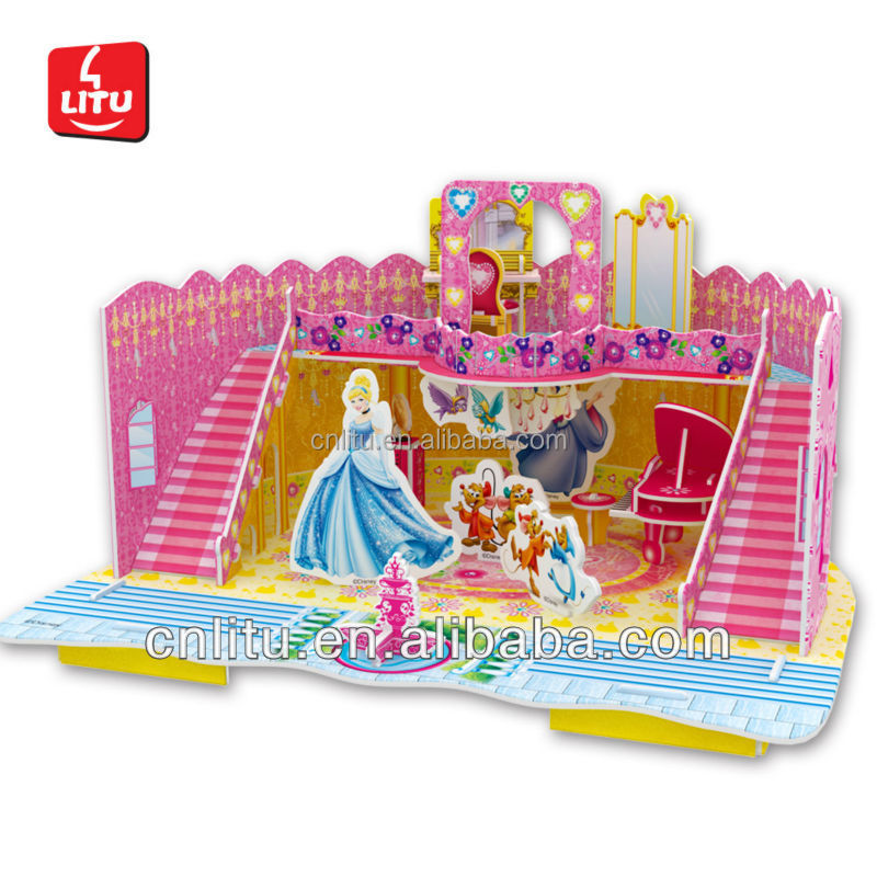 Princess Castle Cartoon Puzzle learning education girl kids DIY paper craft toy/fun game