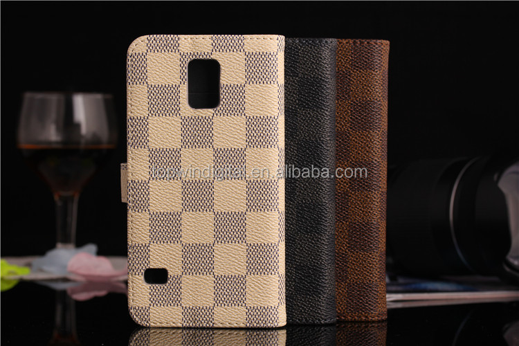 Stylist Lattice Pattern Cool Wallet PU Leather Smart Flip Cell Phone Case For Samsung Galaxy S5
