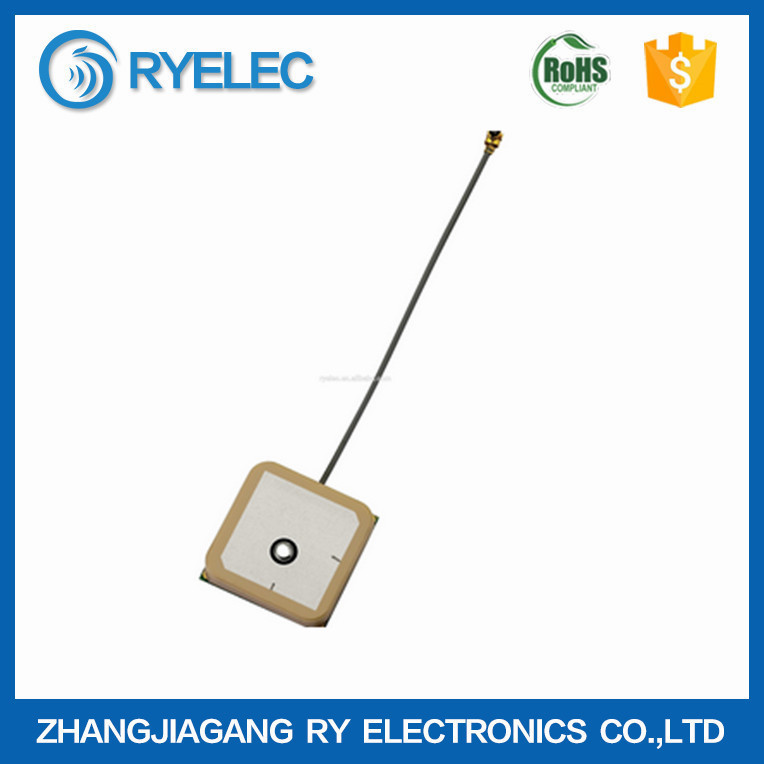 20*20*5mm low height GPS internal 24DBi active pcb receiver antenna with 100mm 1.13 cable to UFL