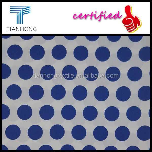 blue white polka dot smooth touch 100 cotton satin weave printed fabric for nightwear