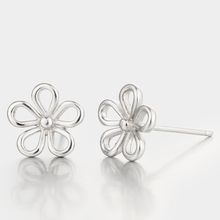 Fashion silver 925 flower jewelry hollow flower shaped stud earrings parts