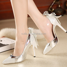 crystal ladies wedding shoes silver bridal high heels bow knot footwear PY3804
