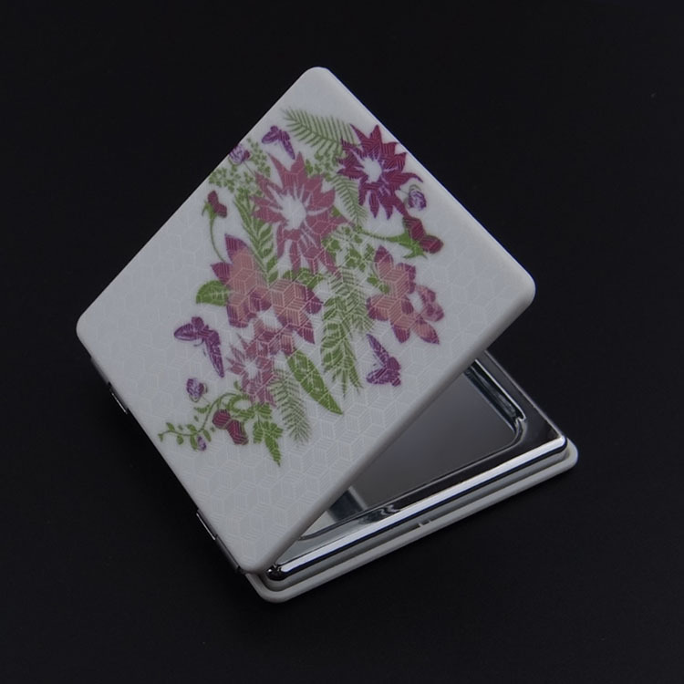 Square Mini Hand Cosmetic Tool Makeup theatrical makeup black makeup hand Mirror with Stiched Patch Pattern