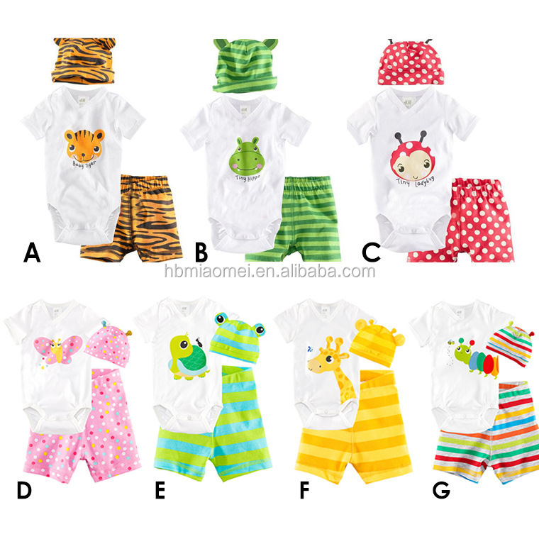 2017 summer cute animal infant romper colorful polka dots baby jump suit 100% cotton short sleeve baby clothes set romper