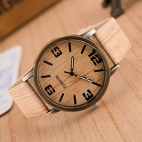 Hot Style Wholesale Charmy Men and Women Natural Alloy Wood Retro Watch