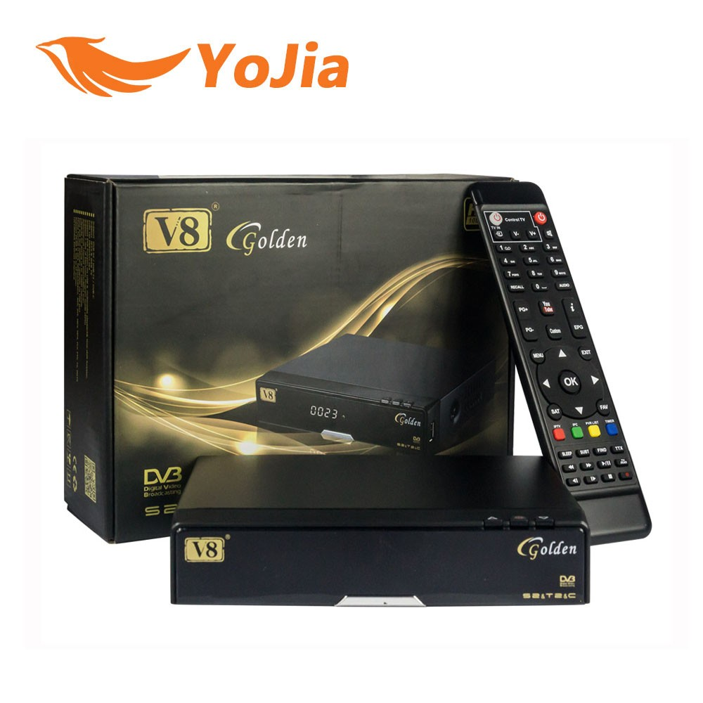 2016 new V8 Golden DVB-S2 + DVB-T2 + DVB-C Satellite TV Combo Receiver Support PowerVu Biss Key Cccamd Newcamd Youtube Youporn