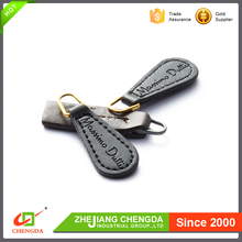 CHENGDA 2017 Durable Brand Logo Customized Sizes Pu Leather Zipper Slider Puller