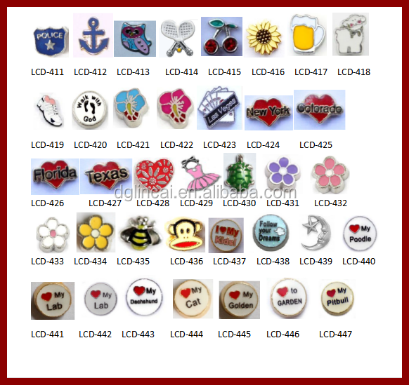 Wholesale floating cheap alloy charms fit glass locket pendant