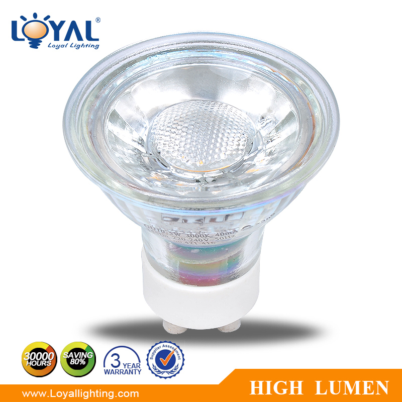 IP20 High lumen glass mini gu10 bridgelux cob led spot 7w 2700k