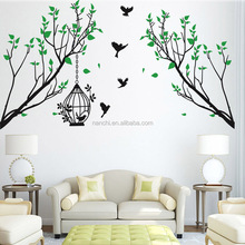 Green Tree Vine and Bird Cage Tree Wall Stickers living room decor wallpapers home decoration removable carved wall decals