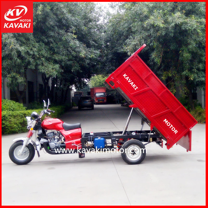 Most Popular Red Color Water Cooling System Auto Lifting Cargo Moto Tricycle Heavy Loading For Garbage