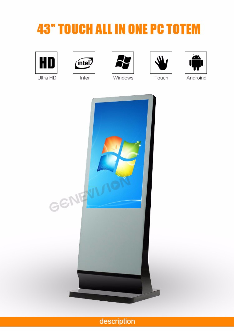 "43"" LCD advertising player display monitor kiosk digital signage touch screen totem"