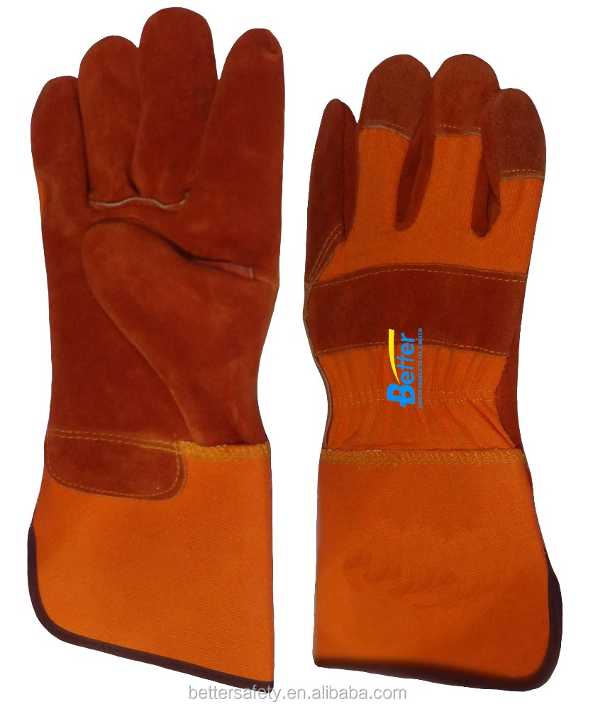 High Quality Orange Cotton Back Rust Red Cow Split Leather Glove