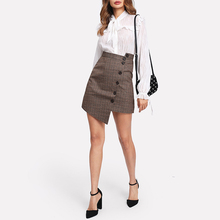 Wholesale New Top Sale Plaid Long Sleeve Ladies Formal Skirt And Blouse