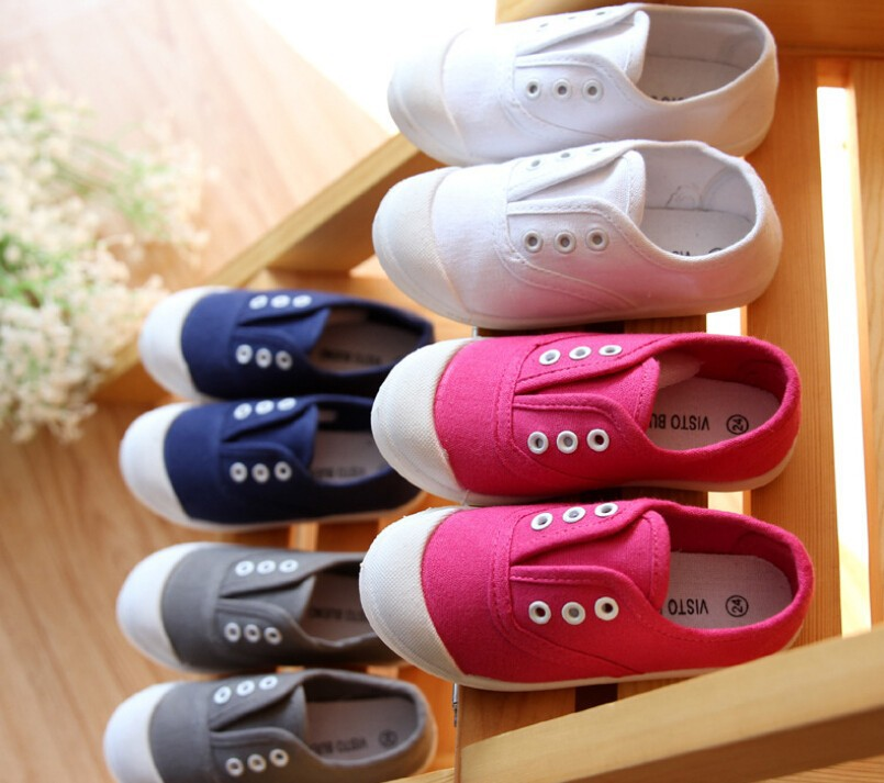 C28367A Kids Children Plain Color Canvas Shoes