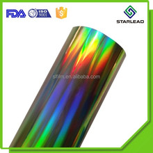 Seamless transparent silver PET hologram lamination film rainbow film