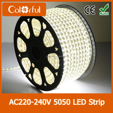 2015 new hot sale super bright christmas 100m/reel high voltage 5050 220V LED strip
