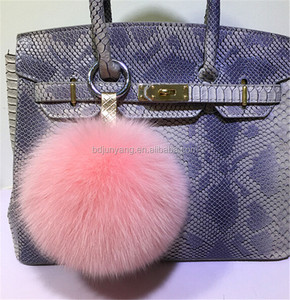 Good quality knitted fur hat pom mobile phone and bag pendant fox fur pompom keychain