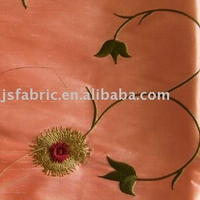 Home Textile Soft Bedding Embroidery Dupion Silk Fabric