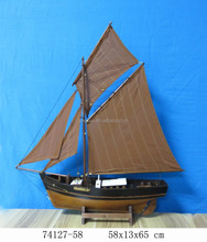 "Wooden fishing boat with sails, ""58x13x66cm"", Black+Brown 2 masts nautical ship model, replic vessel yacht model decor souvenir"