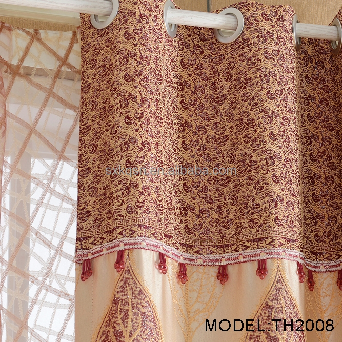 2017 New designs big leaf jacquard curtain fabric