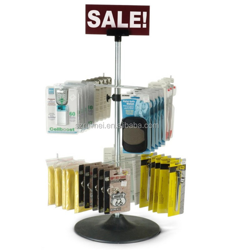 Top-Table Double-Tier Key Chains Metal Small Counter Display Racks