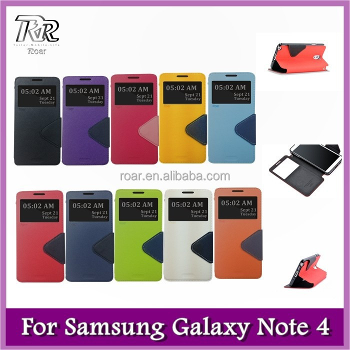 Roar Slim PU Leather Wallet Case, Folio Stand View Card Slot for Samsung Galaxy Note 4 (10 Dual Color