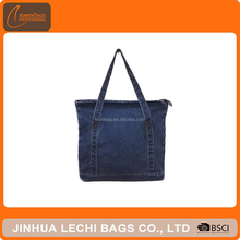Women Daily Use Durable Foldable Fashion Denim Custom Tote Bag With Zip Pocket