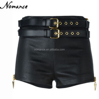 ladies black sexy leather shorts