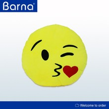 Kiss Love Heart Smile Face Yellow Round Cushion Pillow emoji pillow,High Quality Soft Plush Emoji Pillows,Car Cushion Pillow