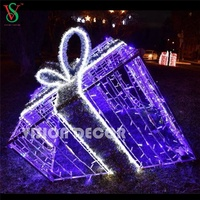 Wholesale Giant Outdoor New year Present Motif Holiday Decorative 3D Gift Box Lights