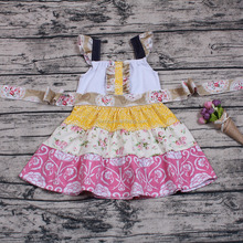 Latest design summer kids girls floral pattern one-piece boutique dress holiday wear birthday gift back to school tutu dress new