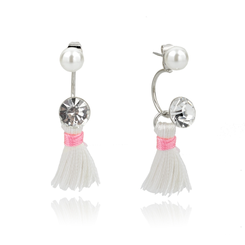 Dainty small sized earring double sided crystal with fringe tassel post earring, faux pearl stud earring with rhinetone bohemian