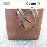 2016 new design fashion shopping bag leather shopping bag ladies tote bag