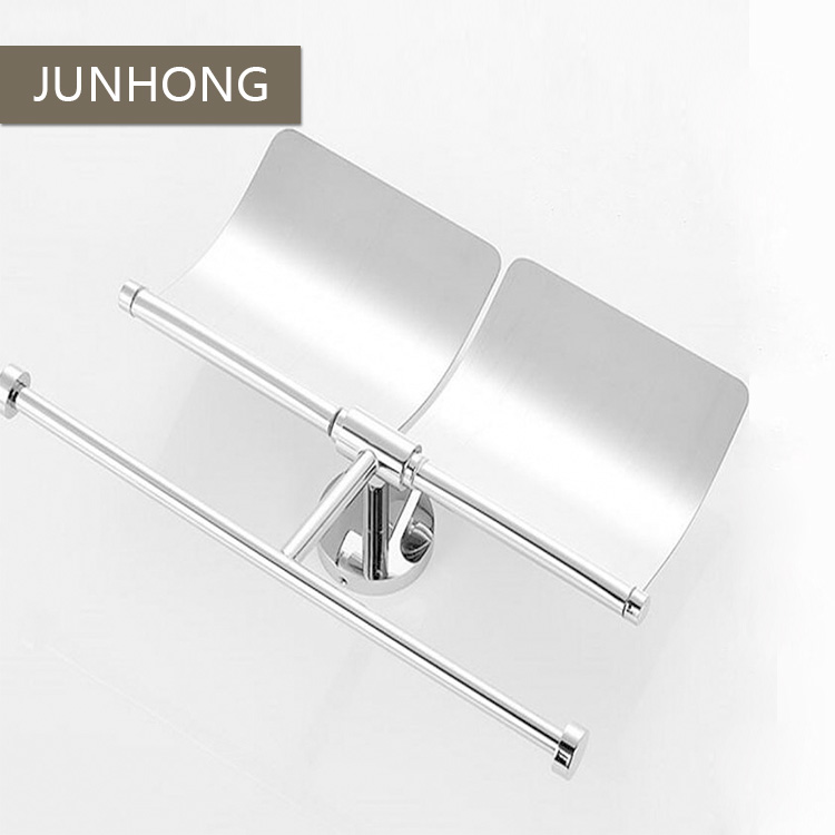 Stainless steel double toilet paper holder with flap cover