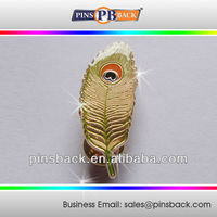 Gold Plated Metal Die Casting Lapel Pins with epoxy dome - custom leaf shape