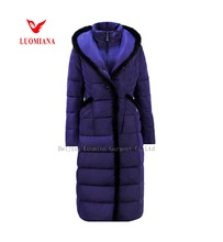 Long coats for ladies in big size women winter clothes with mink fur trim